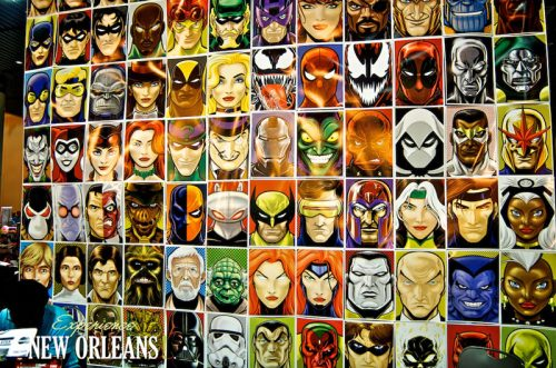 Comic book characters on display