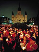 Christmas caroling in Jackson Square